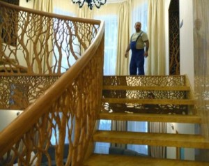 The interior of the house, beautiful staircase, carved by Viktor Dubovik