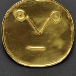 23kt Gold Pendant, 'Visage geomerique aux traits. Artist jeweler Pablo Picasso