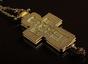 cross with decorations. Work by Russian artist-jeweler Timofei Zhuravlev
