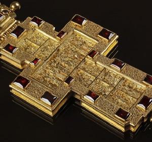 Archpriest premium cross with decorations (closeup)
