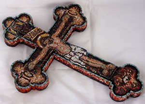 Crucifixion 'Evening' enamel, copper, wood, 2004. First in the world mosaic altar cross