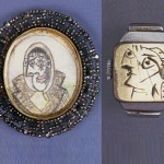 Dora Maar au foulard' pencil drawing on board by Pablo Picasso, set in large open-worked steel brooch with simulated marcasite border, c. 1936-1939