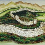 Great China wall. Gemstone painting
