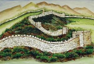 Great China wall. Gemstone painting