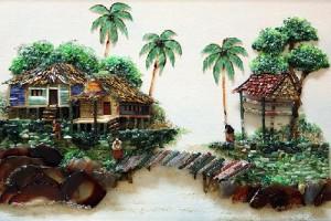Paintings created with precious and semi-precious stones
