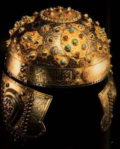 Helmet. Mid-16th century. Iron, turquoise, rubies; Gold notch, black enamel. Topkapi Palace Museum, Istanbul, Turkey