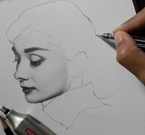 Hyperrealism Portrait Drawing Of Audrey Hepburn 3 Hours