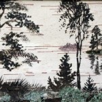 Landscape painting on birch bark