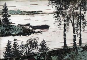 Landscape painting on birch bark