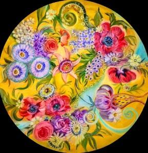 Decorative floral painting on glass by Danish artist Ulla Darni