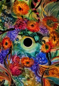 floral painting on glass by Danish artist Ulla Darni