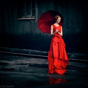 Red umbrella. Photography by Anka Zhuravleva