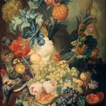 In fact, Arnoldus Bloemers imitated the Dutch painters, such as Jan van Os. Still Life with Flowers, Fruits, and Poultry. Jan van Os. 1774