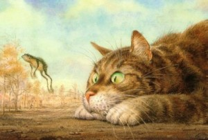 Looking at a frog. 'Cats in Manezh' (30 December 2014 to 20 January 2015)