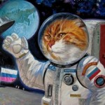 Astronaut cat. The art exhibition in Moscow Arena 'Cats in Manezh' (30 December 2014 to 20 January 2015)