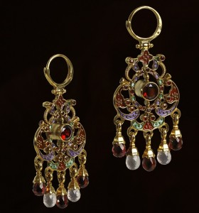 Traditional Russian Earrings, work by master jeweler Timofei Zhuravlev