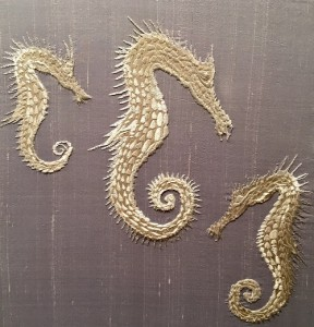 Seahorses, embroidery art