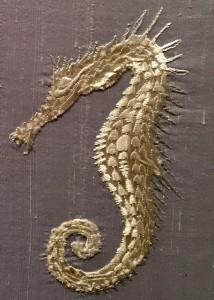 Seahorses, embroidery art
