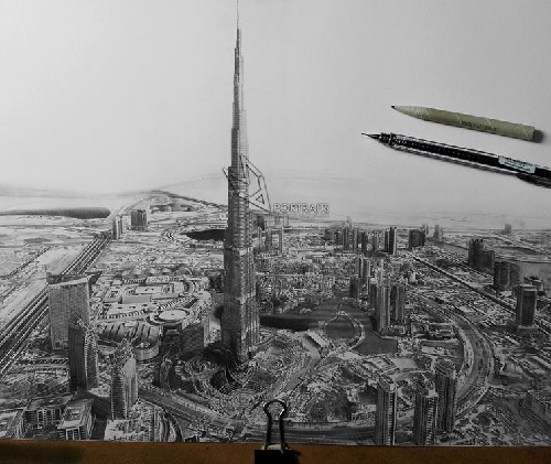 Drawing of the emirates of dubai
