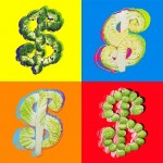 Warhol's 'Dollar sign' 1982 another set of colors for backgrounds