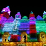 Rainbow colors ice sculpture at the 31 th International Ice and Snow Festival in Harbin, January 5, 2015
