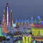 Stunning ice architecture illuminated with colorful lights creates an impressive sight. the ice city of Harbin, January 5, 2015