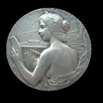 Commemorative Medal in honor of Music Festival in Villefranche in 1911 (Silver). Artwork by Russian artist-jeweler Felix Rasumny