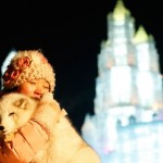 A Girl photographed with polar fox on the Harbin International Ice and Snow Sculpture Festival, January 5, 2015
