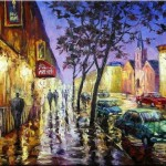 Night rain. Painting by Russian artist Stanislav Sidorov
