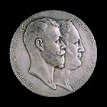 commemorate the 100th anniversary of the Ministry of Foreign Affairs of Russia. The obverse (1902, Silver). Artwork by Russian artist-jeweler Felix Rasumny
