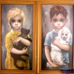 Portraits of a girl and a boy with a cat and dog. Big Eyes painting by Margaret Keane