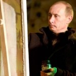 President Putin painting 'Pattern on frosty window'