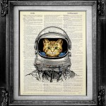 Cat art on Vintage Dictionary pages