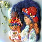 'Portrait of a young girl. Renoir'. Felted brooch
