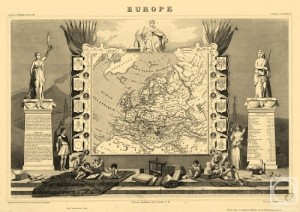 Europe. Engraving from the series 'Ancient map of the world'. Engraving on natural leather, on the work by Levasseur