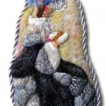 Reading lady. Felted brooch by Russian artist Svetlana Dmitrieva, Saratov