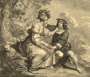 Shepherdess and Shepherd Outdoors. Engraving from a series 'Lyrical Scenes'. Engraving on natural leather, on work by Cornelis van Dalen