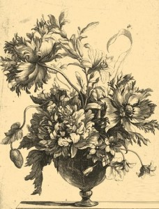 Vase with flowers. Engraving on natural leather made through a unique technology of burning. The engraving on the work by Nicolas de Poilly