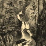 Waterfall Du Parisien. Engraving from a series 'Mountain scenery'. Engraving on natural leather, on work by A.Gorse