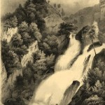 Waterfall Valentine. Engraving from a series 'Mountain scenery'. Engraving on natural leather, on work by A.Gorse