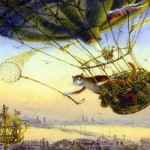 Hot-air balloon traveling. Painting by St. Petersburg based artist Vladimir Rumyantsev