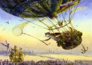 Hot-air balloon traveling. Painting by St. Petersburg based artist Vladimir Rumyantsev