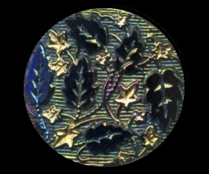 Black Glass Button with Iridescent Luster, Leaves & Gold Luster Ivy