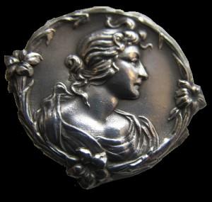 Edwardian 1902 silver button. Birmingham Art Nouveau