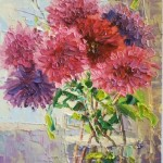 Asters. Oil on canvas. Painting by Moscow based artist Evgeny Gavlin