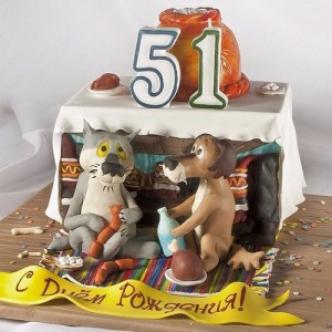 Birthday cake inspired by well known Russian cartoon about a dog and a wolf. Artful Bakery cakes by Vladimir Sizov
