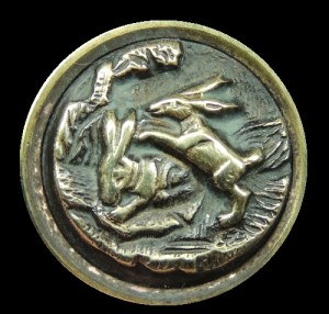 Rabbits. Brass Picture Button