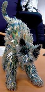 A cat. CD sculpture by Sean Avery