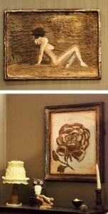 Interior details, Paintings on the wall made entirely of chocolate