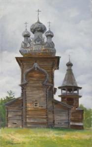 Church in Karelia. Oil on canvas. Painting by Kaluga based artist Viktoria Kharchenko